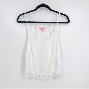Lilly Pulitzer Size L White Katen Embroidered Tank